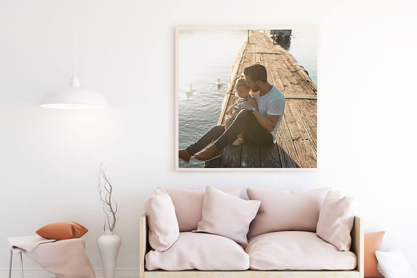 Image of framed picture on room wall
